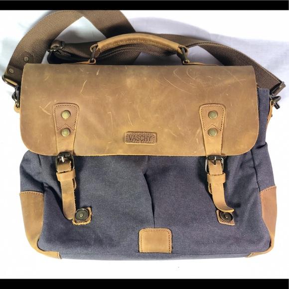 Vaschy Vintage Genuine Leather Canvas Messenger. M 5b8fdd66dcfb5a3fac7eab9f dec79cc820b72